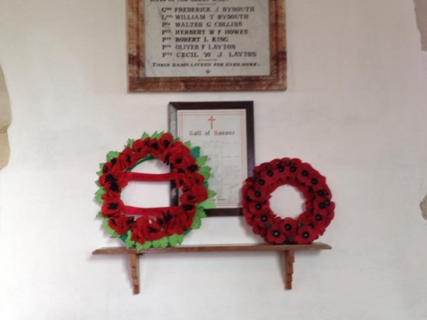 Handmade poppies created by every pupil and teacher, in memoriam