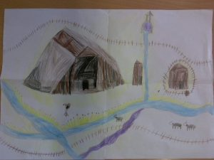Drawing of Anglo-Saxon house