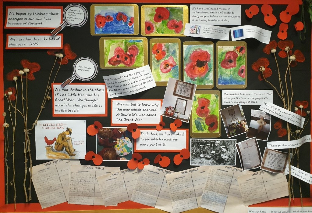 Display in school of poppies