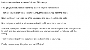 chicken wrap instructions