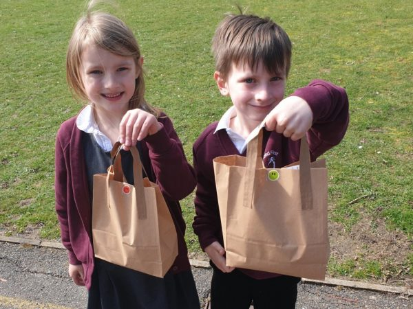Pupils with their seeds ready for planting