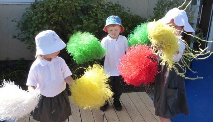 early years pupils cheerleading