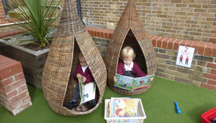pupils in the reading pods