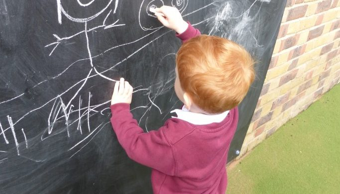 using the outdoor blackboard